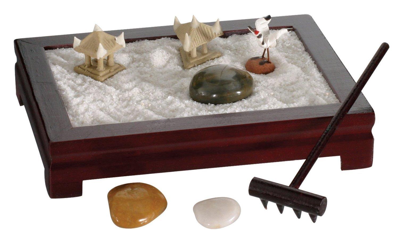 Mini Zen Garden wooden zen tray, white sand river rocks and three ceramic figurines.