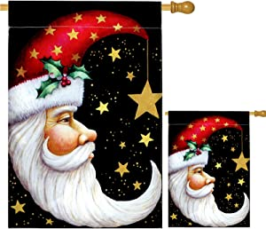 """Yopay 2 Pack Christmas House Flag, 28"""" x 40"""" and 12.5"""" x 18"""" Garden Santa Moon Flag, Decorative Winter Christmas Holiday Celestial Star Garden Flag, Double Sided"""