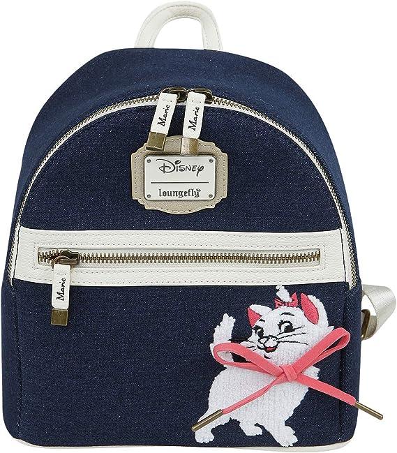 $ LOUNGEFLY DISNEY School Bag Backpack MARIE WHITE CAT ARISTOCATS Denim Paris 3D