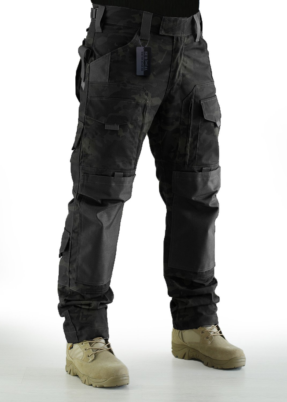 ZAPT Tactical Molle Ripstop Combat Trousers Army Multicam/A-TACS LE Camo Pants for Men (Multicam Black, L)