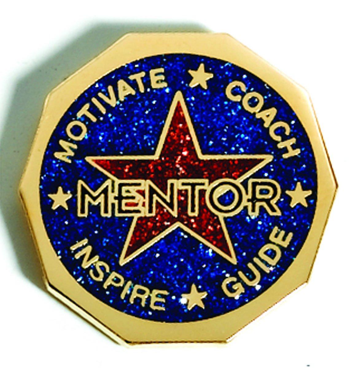 Mentor Blue and Red Glitter Appreciation Award Decagon Lapel Pins, 12 Pins