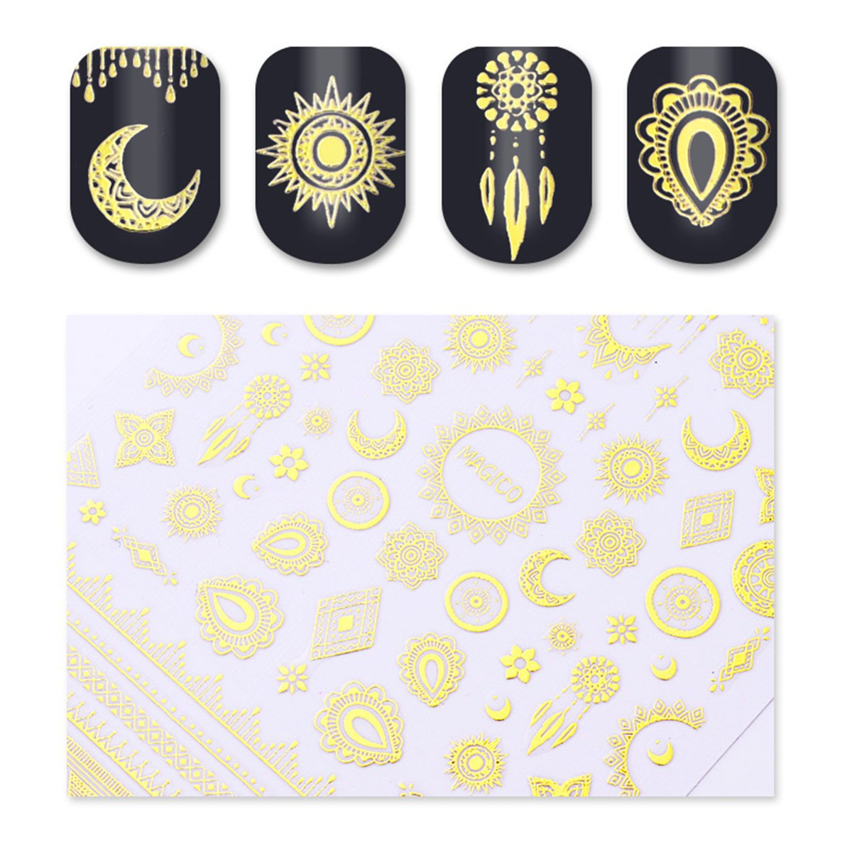 3D-Nagel-Aufkleber-Stern-Mond-Bild-klebende Nagel-Kunst-Dekorationen, Gold TM