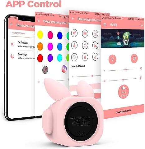 VOBOT Bunny Kids/Toddlers Smart Sleep Trainer con Amazon Alexa, reloj despertador que incluye luces de noche y sonidos de sueño personalizables programa de entrenamiento por Smartphone App – rosa brillante: Amazon.es: Hogar