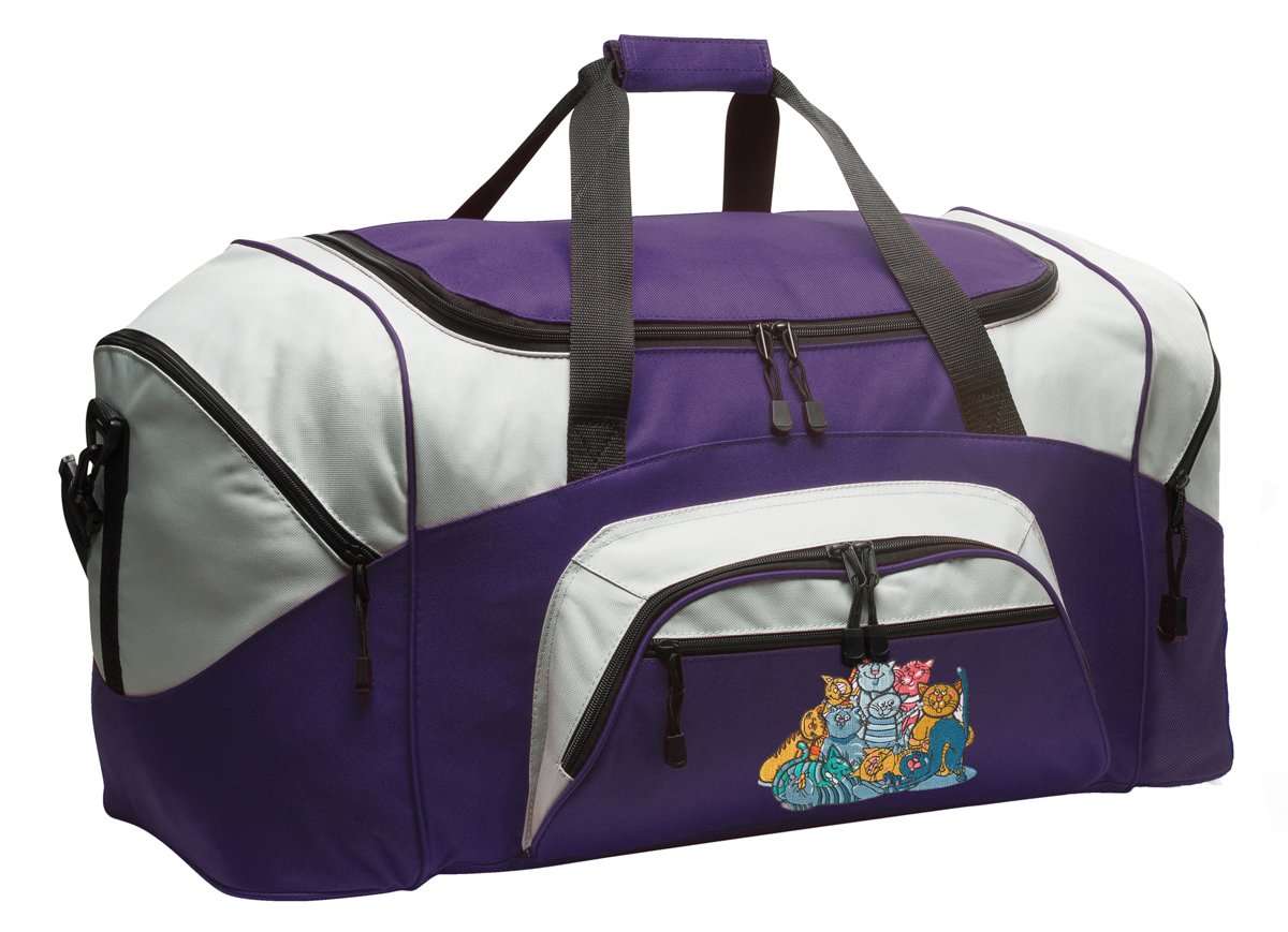 Cats Duffle Bag Cat Gym Bags Purple