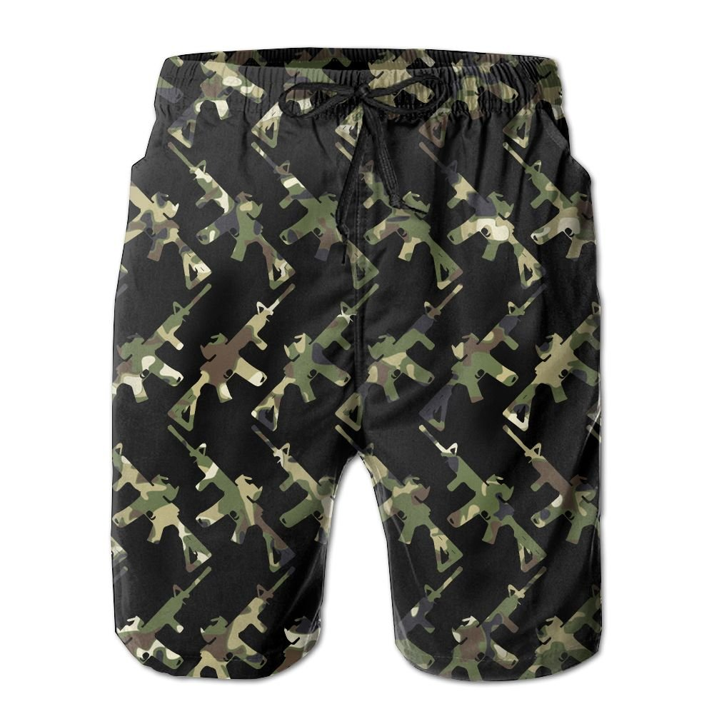 OIYP Cool Camo AR-15 Gun Lover Mens Basic Boardshorts L With Pocket by OIYP