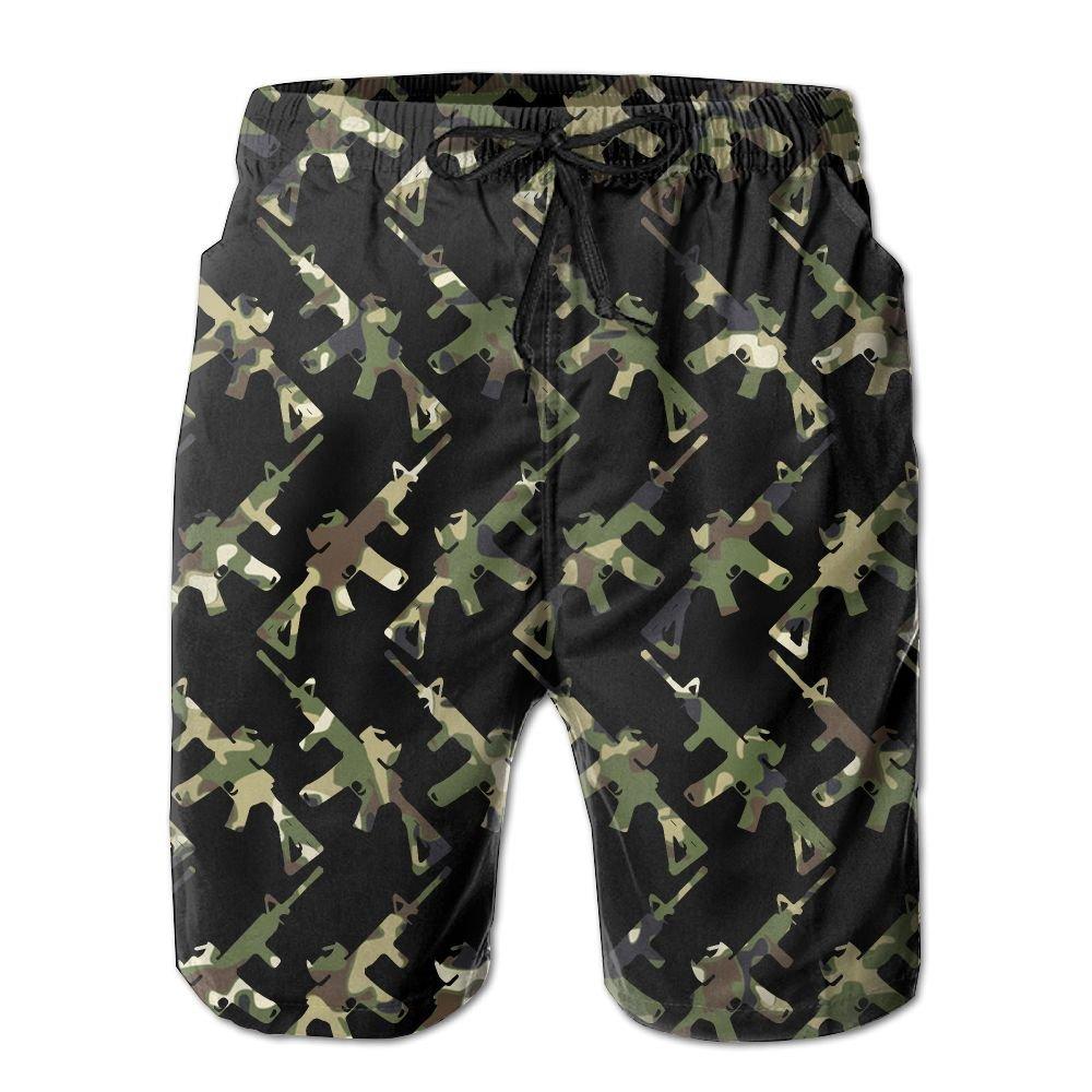 OIYP Cool Camo AR-15 Gun Lover Mens Basic Boardshorts L With Pocket