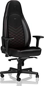 noblechairs ICON Gaming Chair - Office Chair - Desk Chair - PU Faux Leather - Ergonomic - Cold Foam Upholstery - 330 lbs - Racing Seat Design - Black/Red