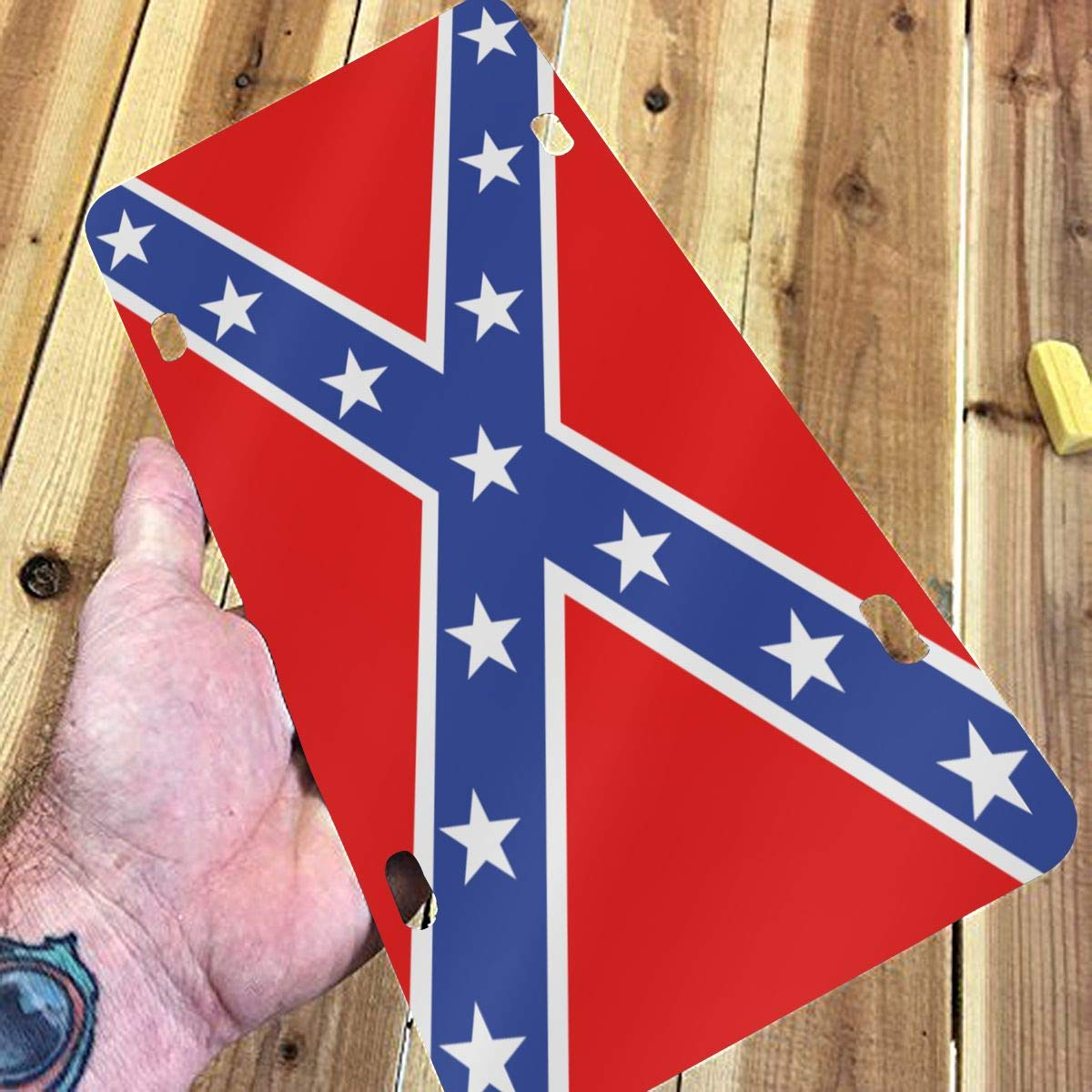 WUZZZZ USA Confederate States License Plate Front License Sign Car Tag Decorative Metal Plate