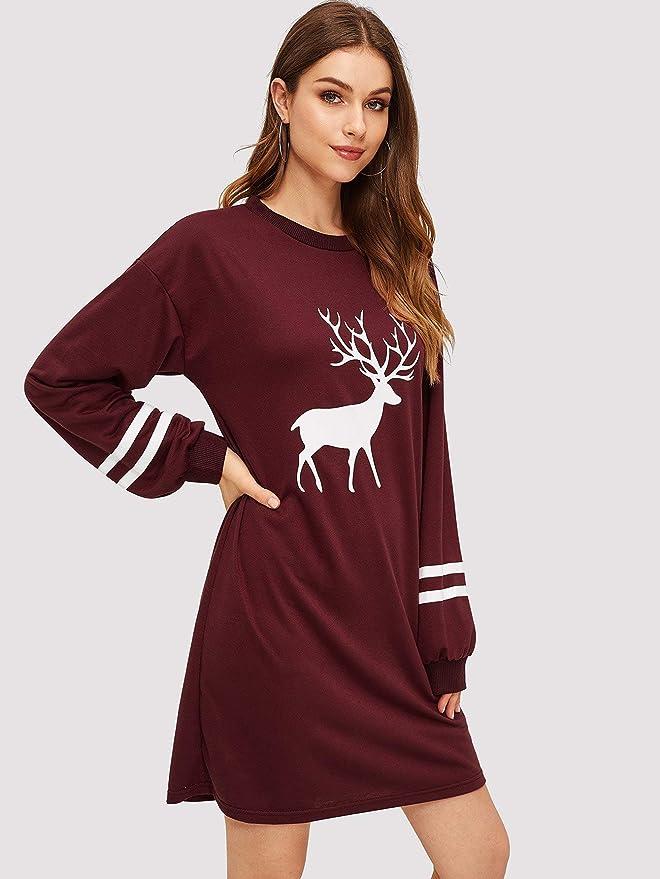 4fecbc63c93 Amazon.com  Women s Burgundy Preppy Reindeer Print Varsity-Striped  Sweatshirt Dress with Ro  Clothing
