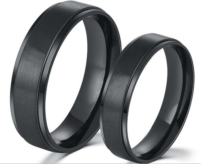 Beydodo 1 Stuck Titan Ring f/ür Paar Hochglanzpoliert Rund Breite 8//6 MM Trauring Partner Schwarz//Silber Ringe Partner
