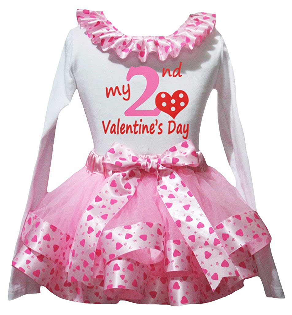 Petitebella 2nd Valentine Day White L//s Shirt Pink Heart Petal Skirt Nb-8y