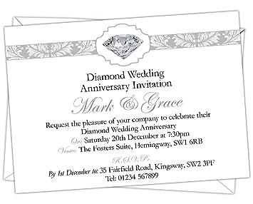 personalised diamond wedding 60th anniversary invitations design