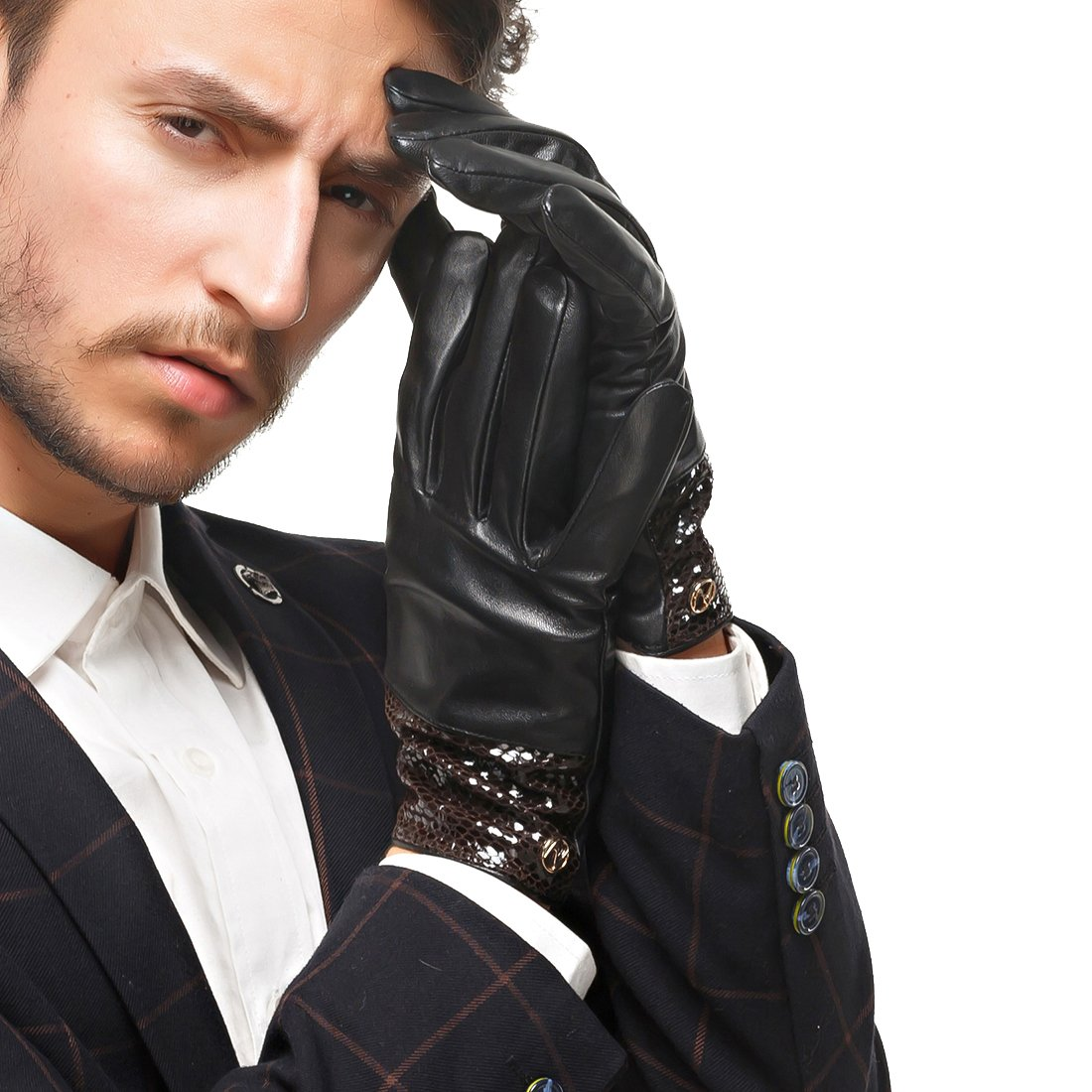 Nappaglo Men's Genuine Lambskin Leather Gloves Nappa Leather Touchscreen Autumn Winter Business Mittens (XXL (Palm Girth:9.5''-10''), Black (Touchscreen))