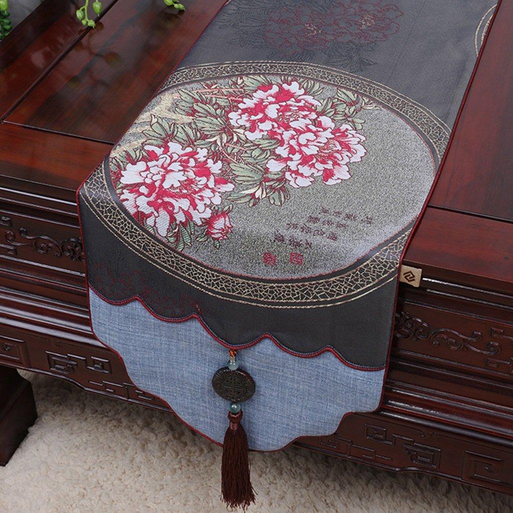 ERRU-Corredor de la tabla Mantel Mantel de mesa Jade Tea Mantel de mesa largo Mantel Manteles ( Color : Gris , Tamaño : 34300cm )