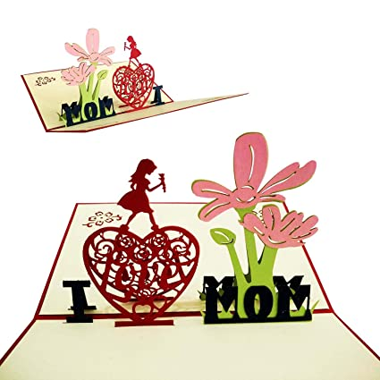 Amazon Gd I Love Mom Handmade Gift Card For Mom Handmade 3d