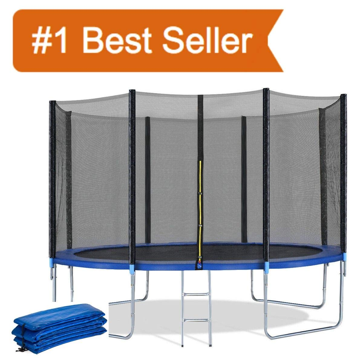 Giantex Trampoline Combo Bounce Jump Safety Enclosure Net W/Spring Pad Ladder, (12 FT + Trampoline Spring Cover)