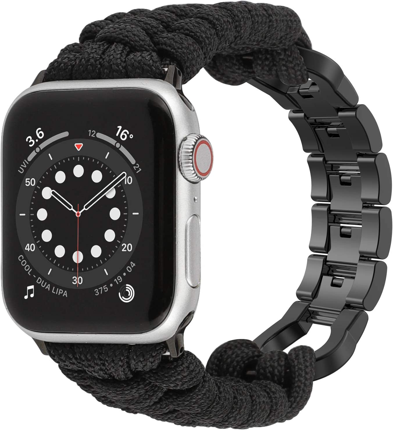 Moolia Paracord Watch Band Compatible With Apple Watch 42mm 44mm for iWatch Series 6 5 4 3 2 1 SE, Men Handcrafted Braided Paracord Sport Replacement Strap With Stainless Steel Buckle, Black