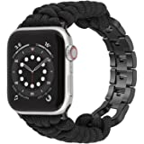 Moolia Paracord Watch Band Compatible With Apple Watch 42mm 44mm for iWatch Series 6 5 4 3 2 1 SE, Men Handcrafted Braided Pa