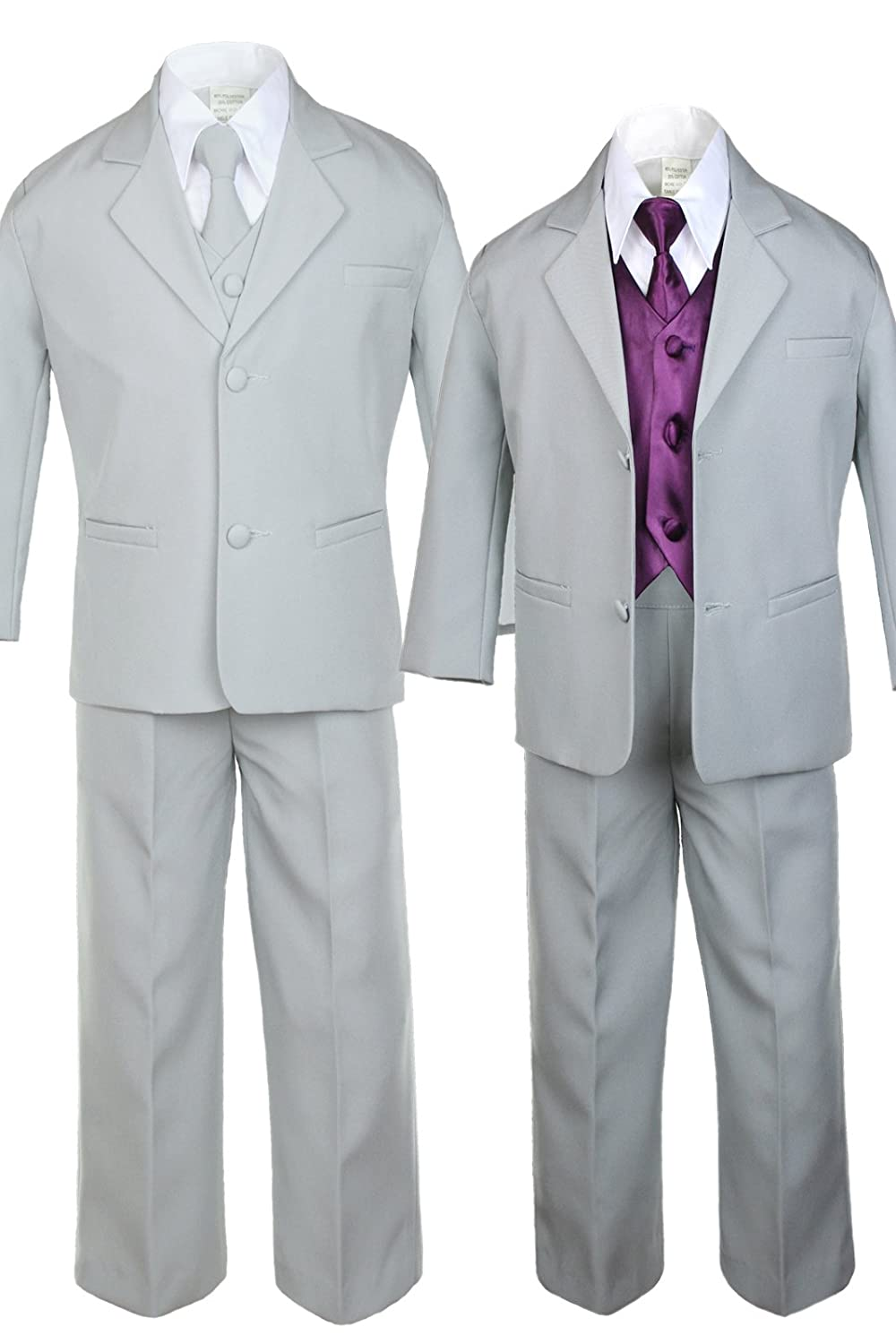 Unotux 7pc Boys Silver Suit with Satin Eggplant Vest Set from Baby to Teen