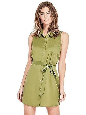 GUESS Factory Womens Leia Collared Button-Front Waist Tie Denim Dress