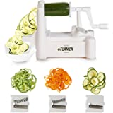 Flamen Tri-Blade Vegetable and Fruit Spiralizing Slicer- Kitchen Cutter Tool, Veggie Spaghetti and Pasta Maker
