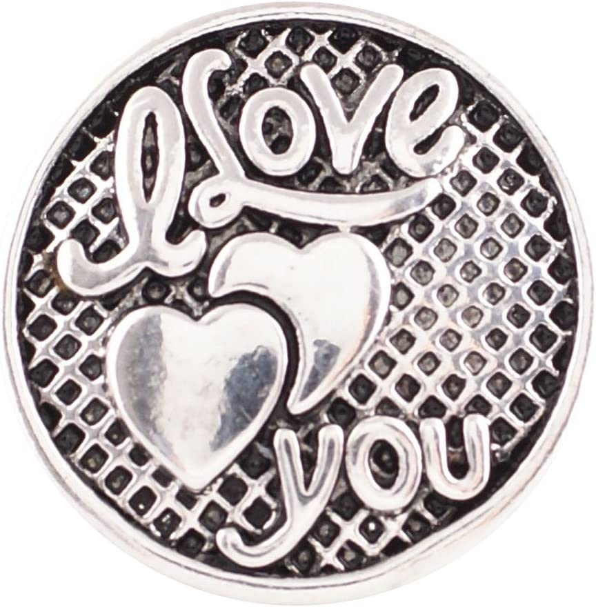 ?~Snap.Chunk Button 20mm Loveheart Blue Set Charm For Ginger Snap Style Jewelry