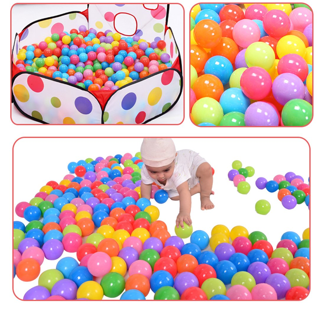 Hi Suyi Ball Pit Balls 100 Pack Colorful BPA Free Crush Proof with Mesh Bag for Toddlers Baby Playpen Play Tent House Swim Pool Toys