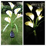 DSstyles 5 LEDs Simulate Calla Lily Pin Lamp Solar