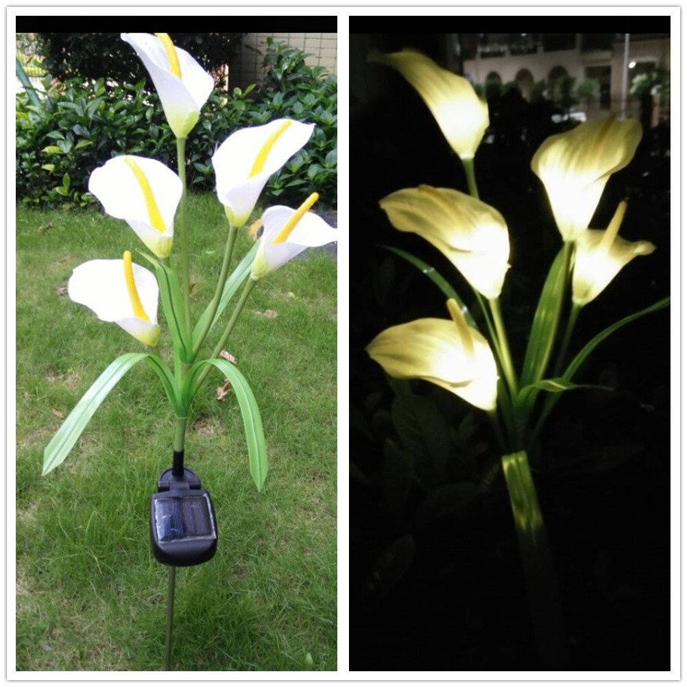 DSstyles 5 LEDs Simulate Calla Lily Pin Lamp Solar Energy Powered Night Light Yard Home Garden Decoration Lighting