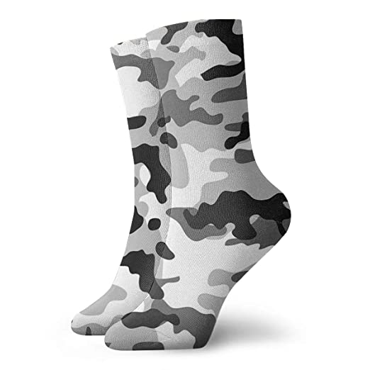 b89b20472bc0 Amazon.com  Black And White Camouflage Novelty 3D Socks