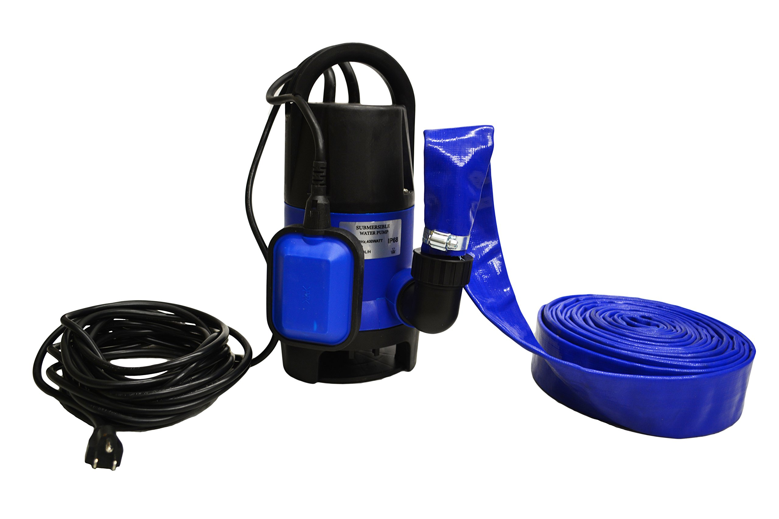 Hot Tub and Pool Submersible Drain Pump and 25' Water Hose (Up To 2,000 Gallons Per Hour) by EZ Travel Collection