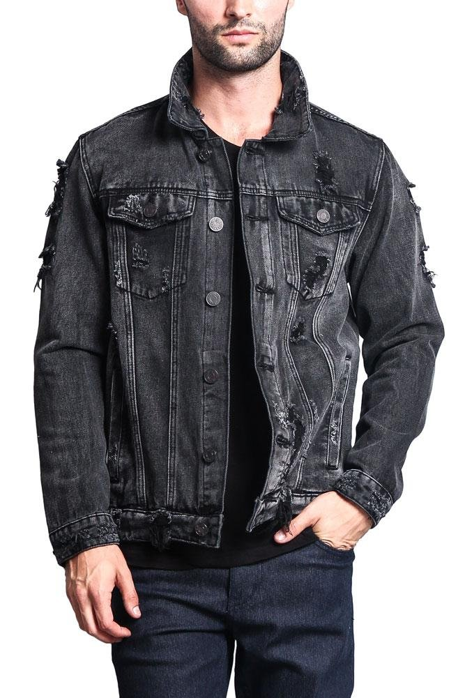 G-Style USA Distressed Denim Jacket DK100 - Black - X-Large - II7C