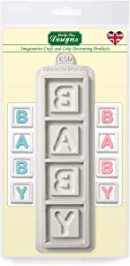 Baby Blocks Silicone Mold, Cubes for Cake Decorating, Crafts, Cupcakes, Soaps, Sugarcraft, Candies, Card Making and Clay, Food Safe Approved, Made in The UK