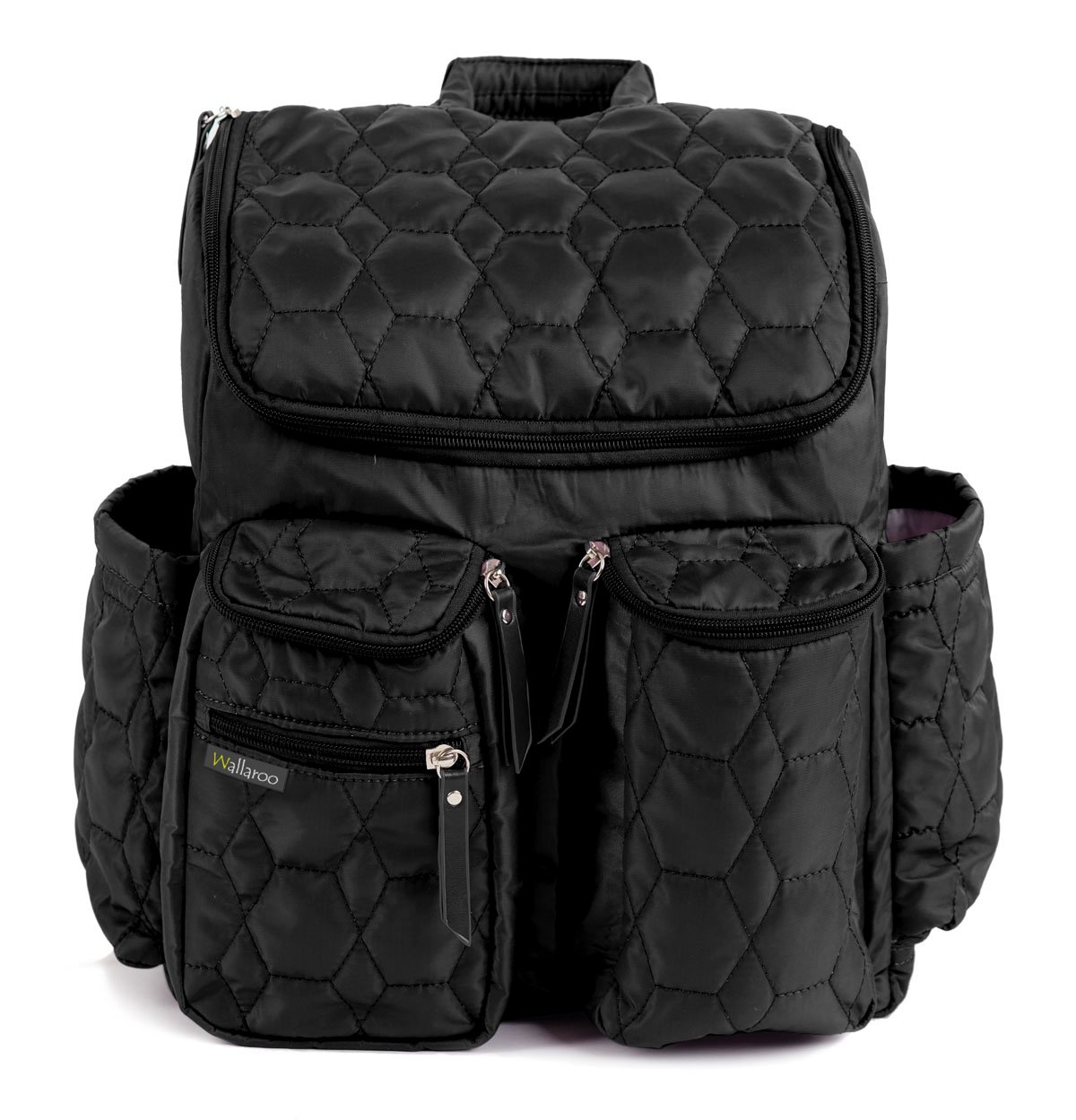 Diaper Backpack by Wallaroo - with Stroller Straps, Wet Diaper Bag and Changing Pad – for Women and Men - 28 Liters (Large) - Black