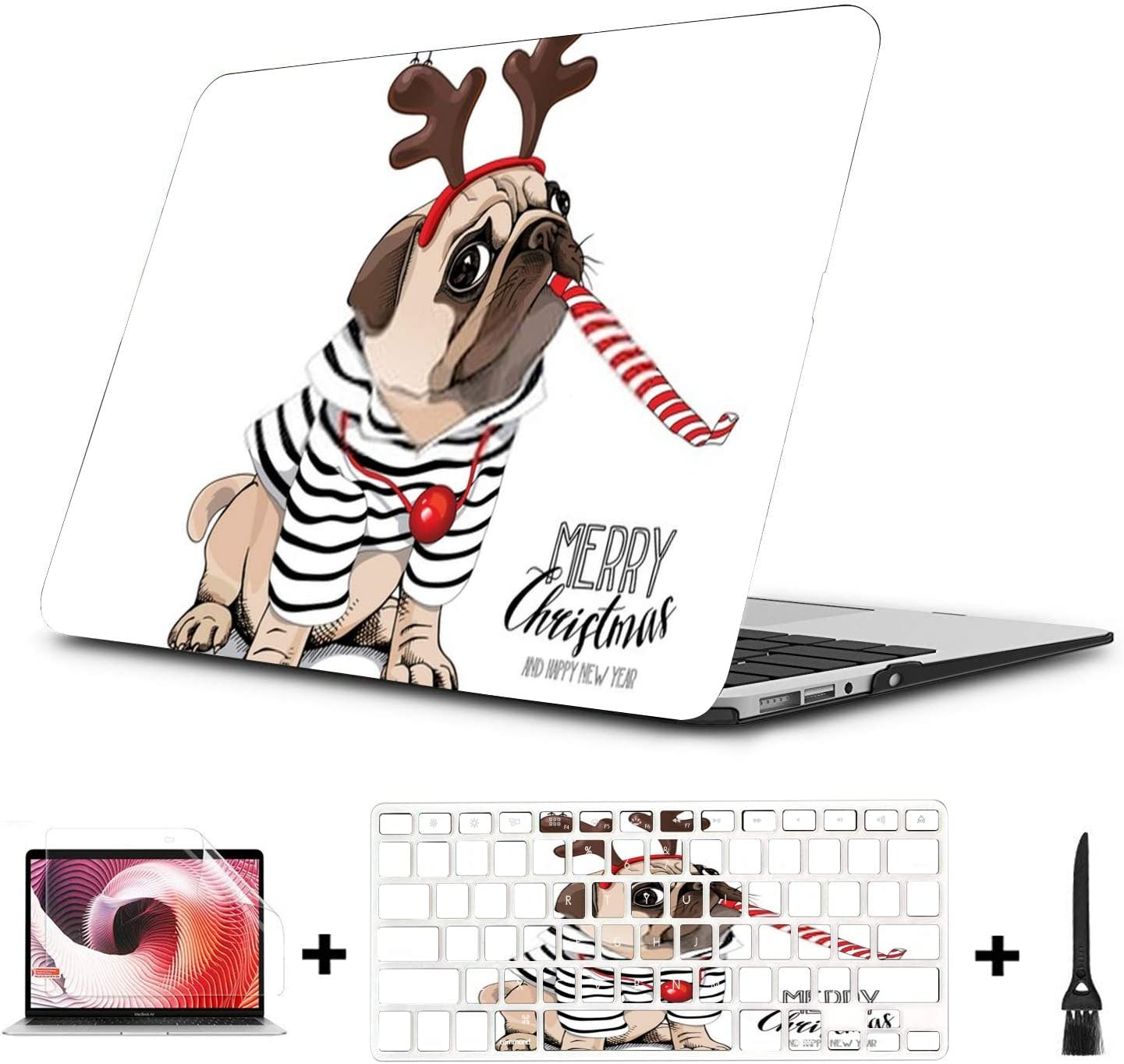 MacBook Pro Case Christmas Card Pug Dog Striped Cardigan MacBook Air 13 A1932Plastic Case Keyboard Cover /& Screen Protector /& Keyboard Clea Touch ID