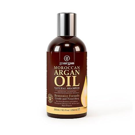 Champú de aceite de argán marroquí con fórmula restaurativa, 250 ml. Suave y sin parabenos para ...