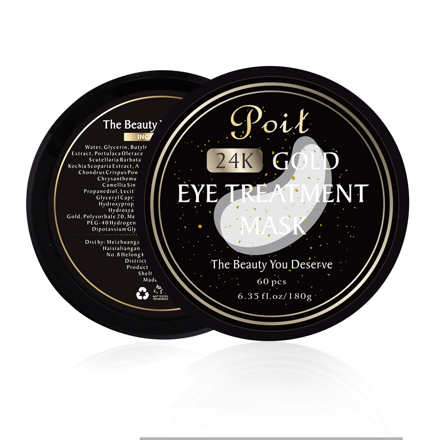 Poit Under Eye Gold Patches, Eye Gel Pads, Eye Treatment Mask, Reduces Wrinkles and Puffiness, Lightens Dark Circles, 60 PCS