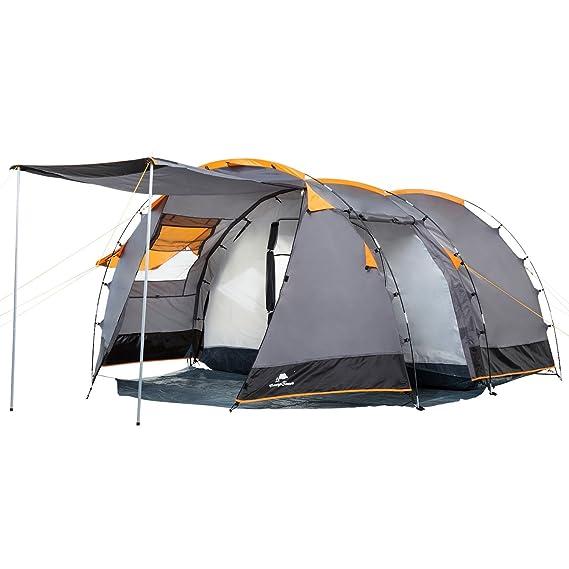 CampFeuer Tunnelzelt für 4 Personen | Großes Familienzelt mit 2 Eingängen und 3.000 mm Wassersäule | Gruppenzelt | grau | Cam