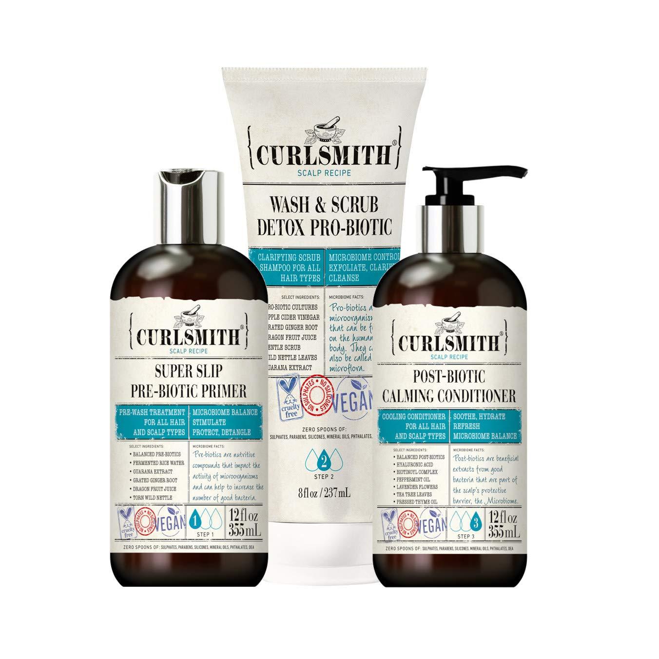 Curlsmith - Clarifying Wash Day Bundle, Including Pre-Biotic Primer, Wash & Scrub Detox Pro-Biotic & Post-Biotic Calming Conditioner