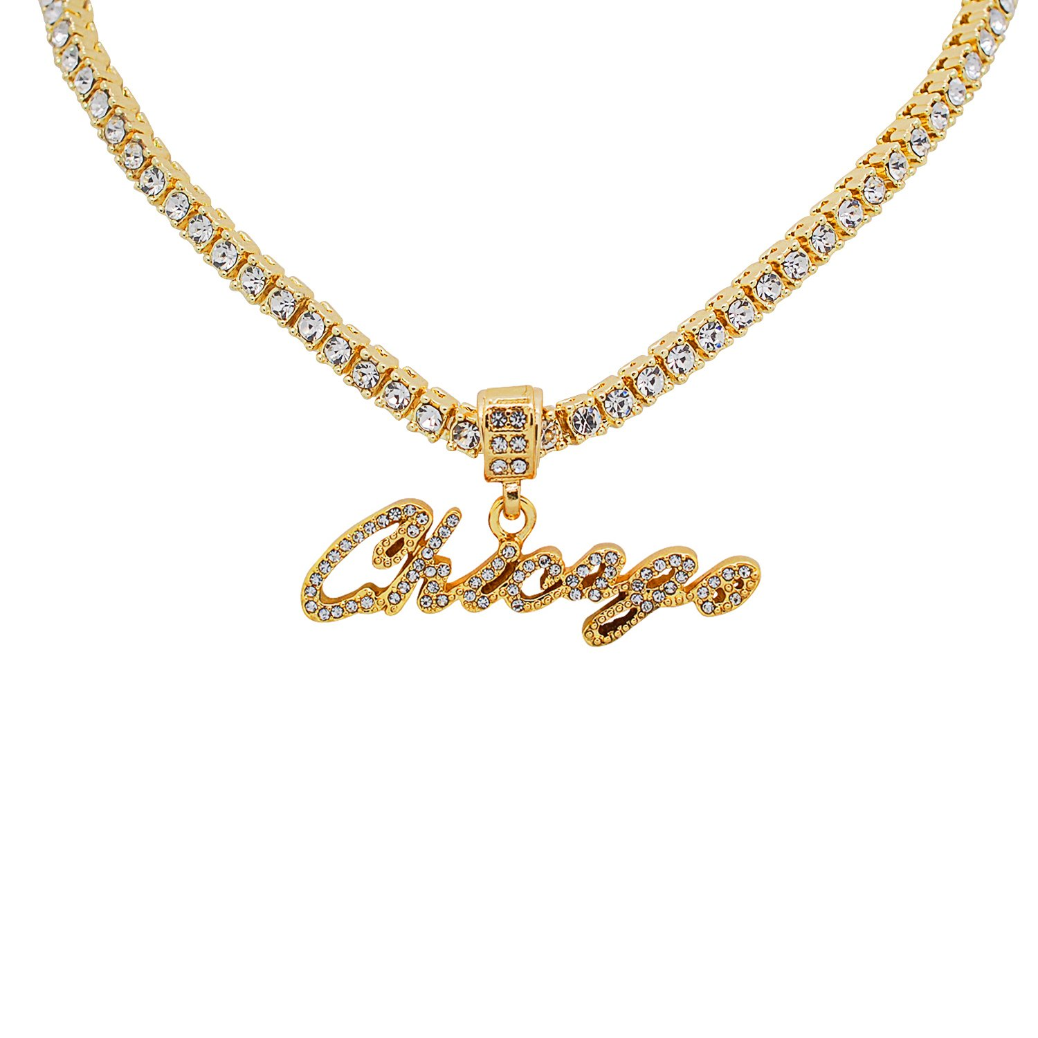 Yellow Gold-Tone Hip Hop Bling CursiveChicago Letter Pendant with 20 Tennis Chain and 24 Rope Chain