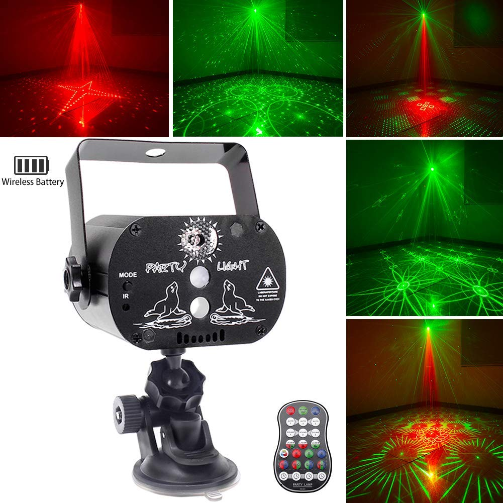 U`King Party Light Laser Lights with Battery Powered Mini Flash Strobe Light RGB LED DJ Disco Lights Projector by Sound Activated Remote Control for Stage Lighting Birthday Parties by U`King