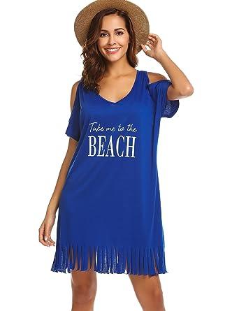 3581f664efa1f SUNAELIA Women's Sexy Cotton Deep V Neck Swimsuit Cover up/Beachwear Dress Royal  Blue S