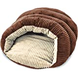 Sleep Zone Corduroy Cuddle Cave Dog Bed - Fabric Bottom - 22X17 Inches / Chocolate / Attractive, Durable, Comfortable…