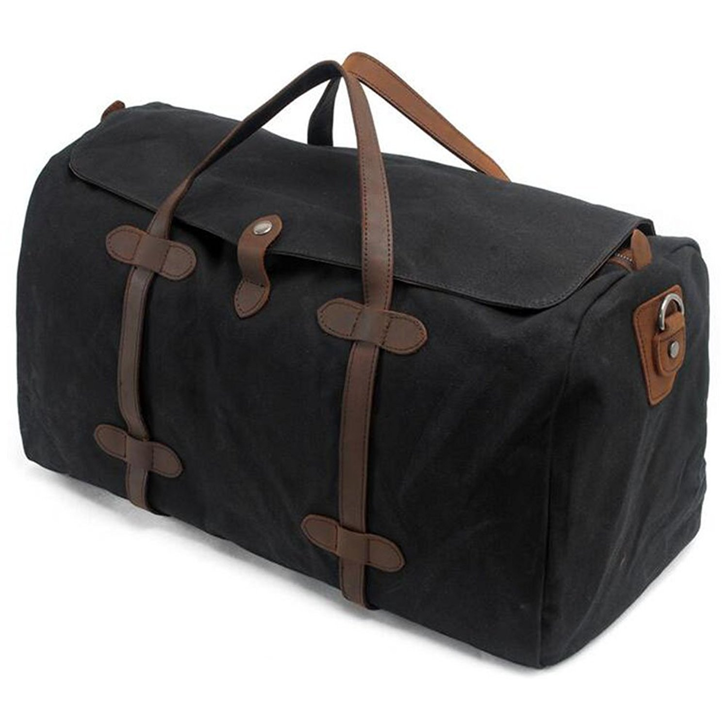 218424fd02366a S-ZONE Vintage Waxed Leather Canvas Travel Bag Extra Large Capacity Holdall  Travel Duffle Carry-on Baggage Gym Bag with Adjustable and Detachable  Shoulder ...
