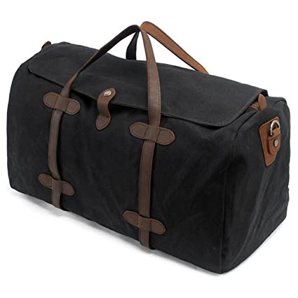 S-ZONE Vintage Waxed Leather Canvas Travel Bag Extra Large Capacity Holdall  Travel Duffle Carry aea0793457