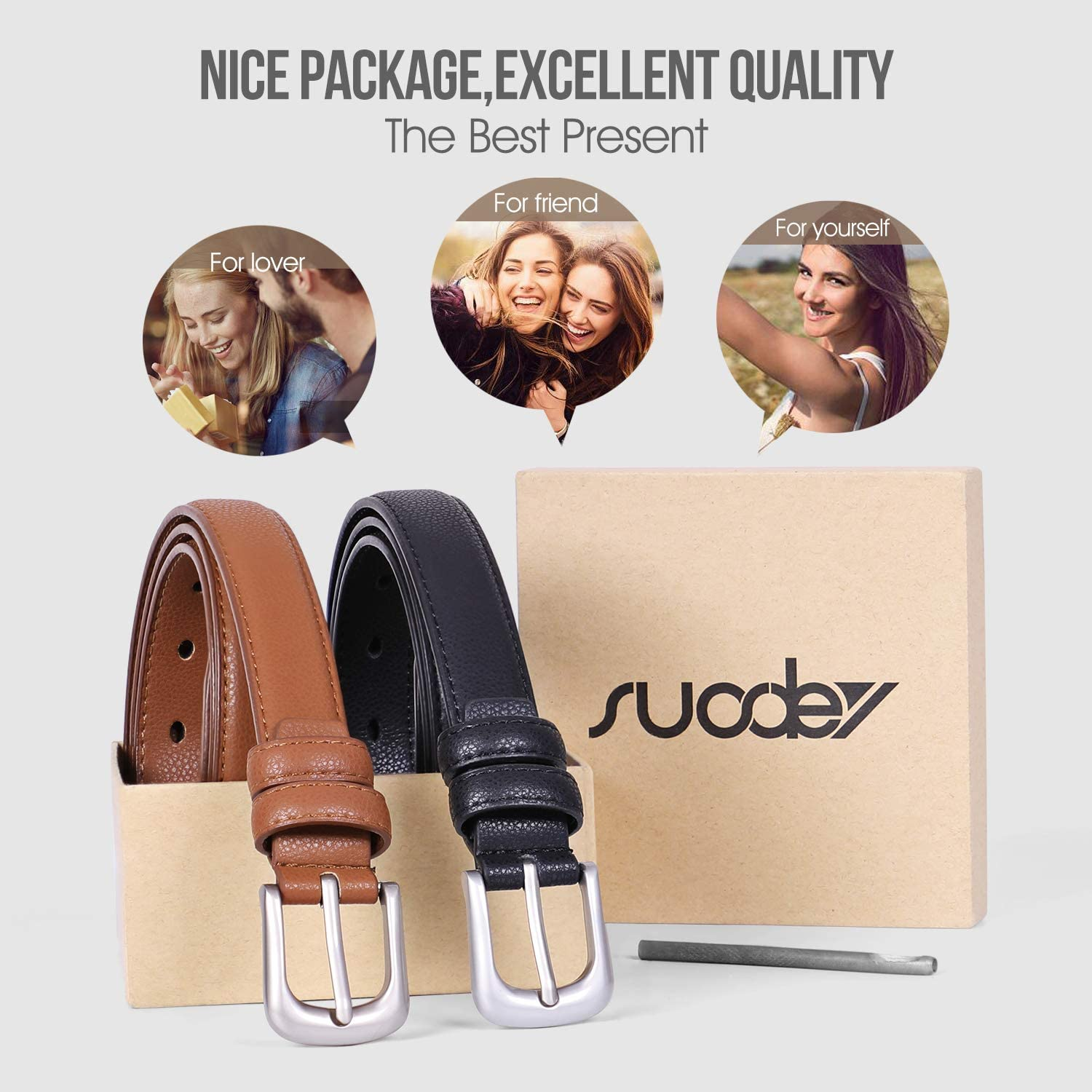 SUOSDEY Womens Skinny Leather Belt Solid Color with Pin Buckle Simple Waist Belt for Jeans Dress Pants Mothers Day Gifts