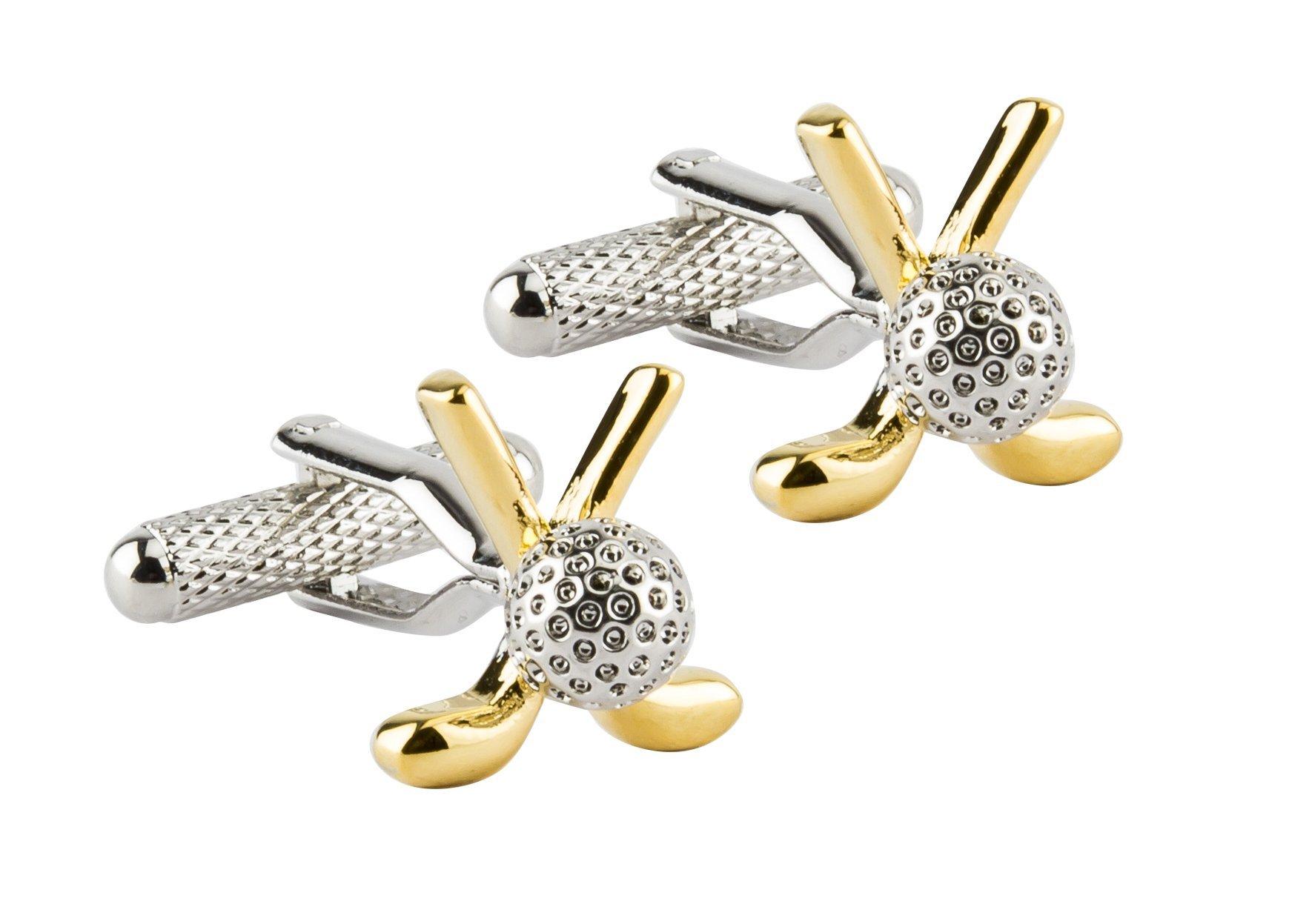 KNIGHTHOOD Men's Silver Gold Tone Golf Ball Club Cufflinks Silver
