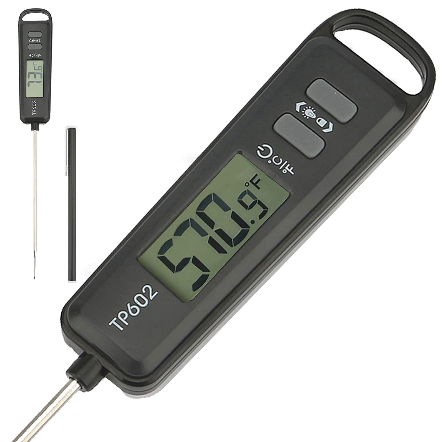 REJOL LCD Backlight Display Screen Instant Read Digital Cooking Food Thermometer, 5 Inch Long Probe Meat Thermometer for Frying Oil Baking BBQ Grill Smoker Liquid Temperature Accurate Reading, Black