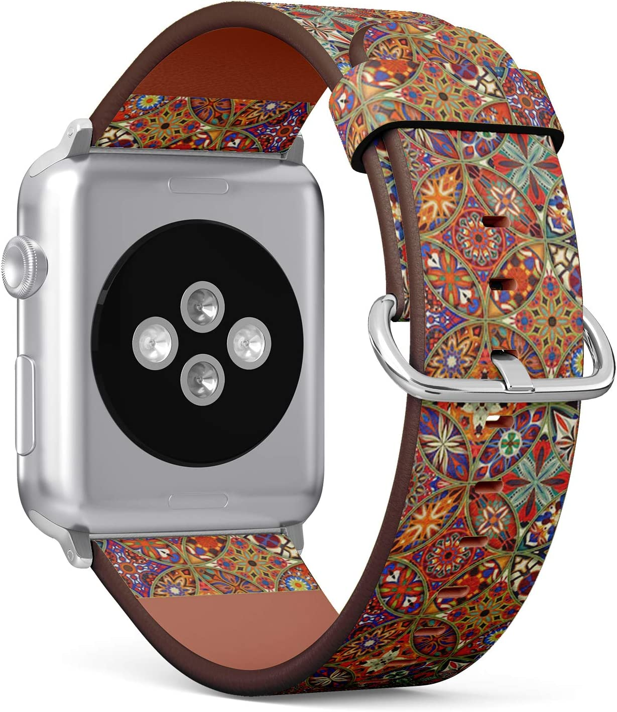 Compatible with Big Apple Watch 42mm & 44mm (Series 5, 4, 3, 2, 1) Leather Watch Wrist Band Strap Bracelet with Stainless Steel Clasp and Adapters (Decorative Mandalas Vintage)