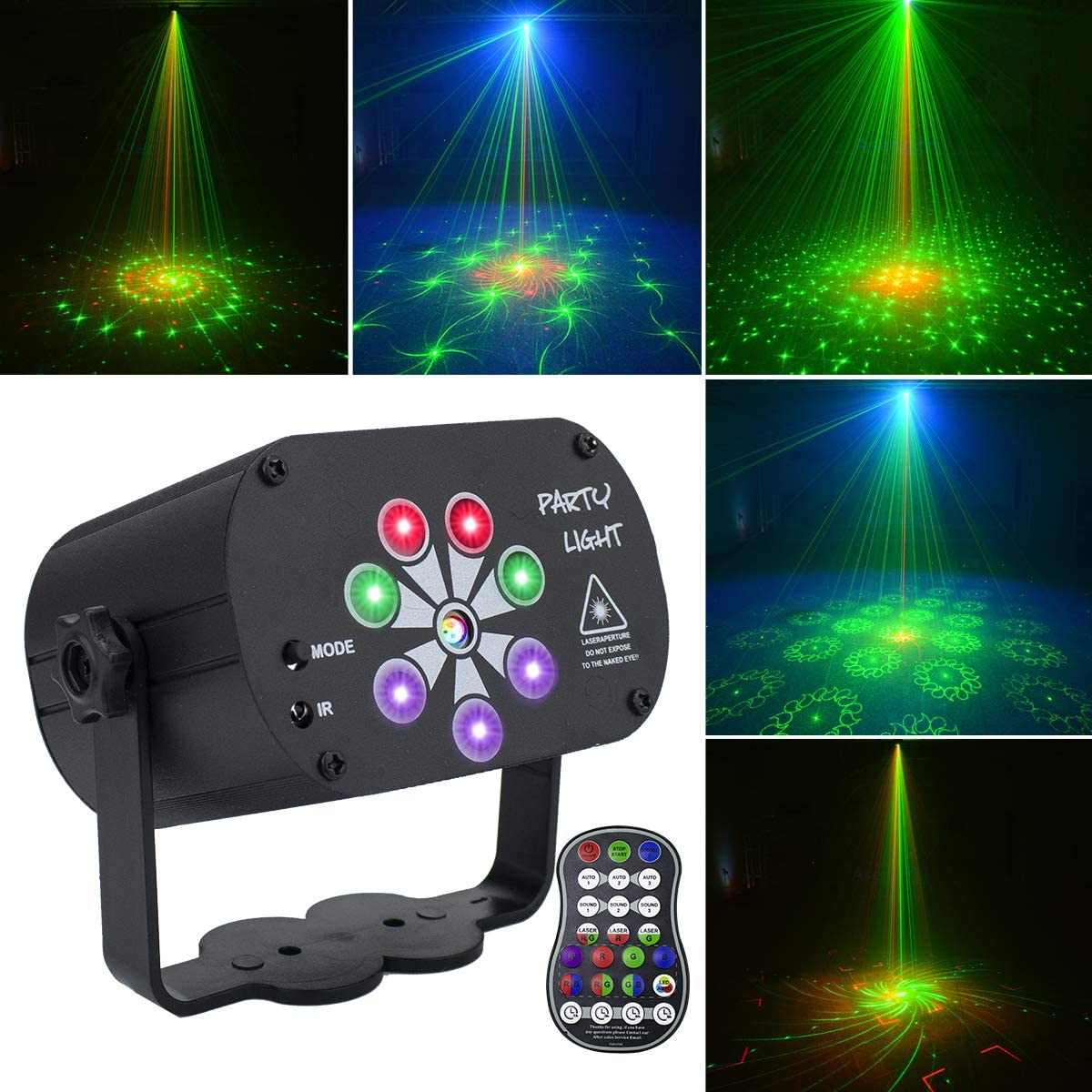 LED Stage Light LED Disco Lights RGB Beam Lights Sound Activated DJ Party Lights with Strobe Flash Effects, LED Stage Light Projector with Timing Remote Control for Home Birthday Dance Party